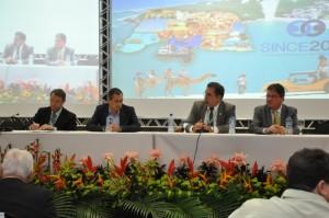 Palestra central com Roberto Piscitelli(CORECON-DF), Rogério Costanzi (IPEA), Júlio Miragaya (COFECON) e Miko Matijascic (IPEA)